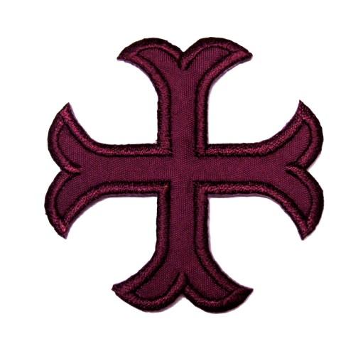1 Applikationen Kreuz Farbe: Bordeaux 5,2 x 5,2cm