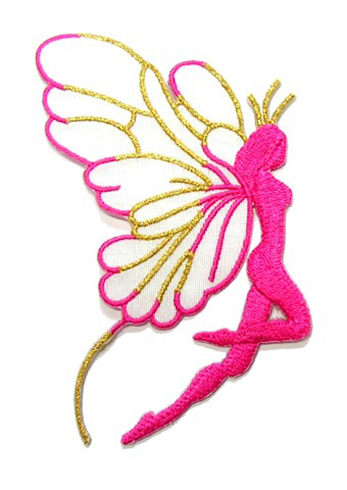 Applikation Patch Elfe 9,7x5,5cm Farbe: Pink-Weiss-Gold