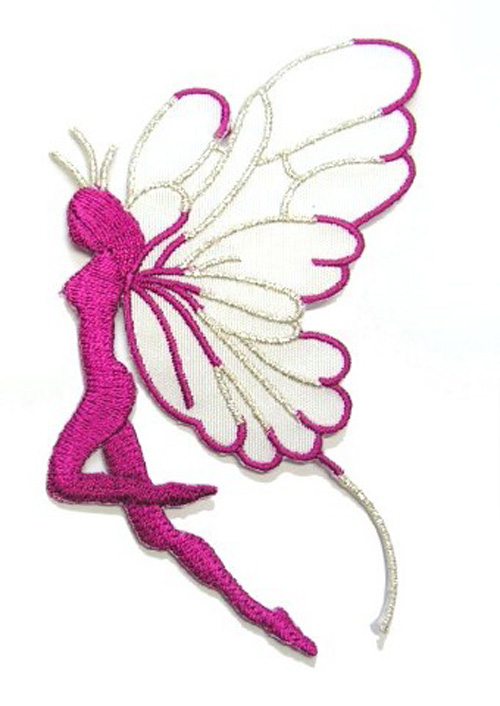 Applikation Patch Elfe 9,7x5,5cm Farbe: Fuchsia-Weiss-Silber