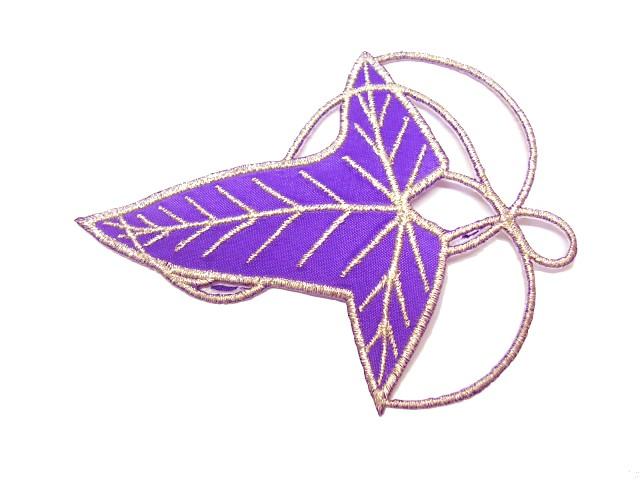 Applikation Patch Elbenblatt 9,5 x 7cm Farbe: Violett-Silber