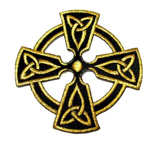 Applikation Patch keltisches Kreuz 8 x 8cm Farbe: Lurex-Gold