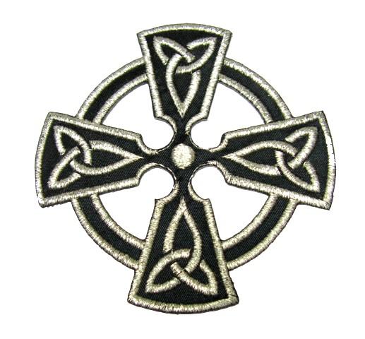 Applikation Patch keltisches Kreuz 8 x 8cm Farbe: Lurex-Silber