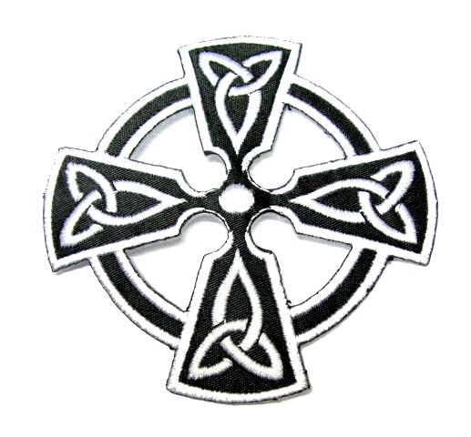 Applikation Patch keltisches Kreuz 8 x 8cm Farbe: Weiss