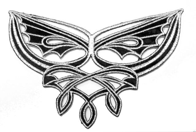 1 Applikationen Tribal 12,7 x 8cm Farbe: Lurex-Silber