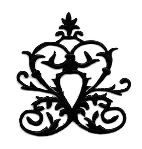 Applikation Tribal  Aufnäher Farbe: Schwarz 6,7 x 7,5cm
