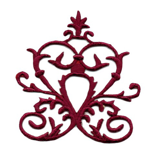 Applikation Tribal Aufnäher Farbe: Bordeaux 6,7 x 7,5cm