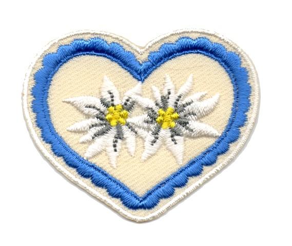 Landhaus Trachten Applikation Wiesn Herz Edelweiss 5x4,5cm Farbe: Blau-Beige