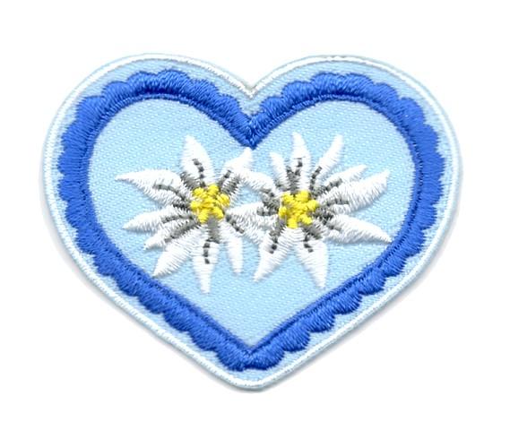 Landhaus Trachten Applikation Wiesn Herz Edelweiss 5x4,5cm Farbe: Blau-Hellblau