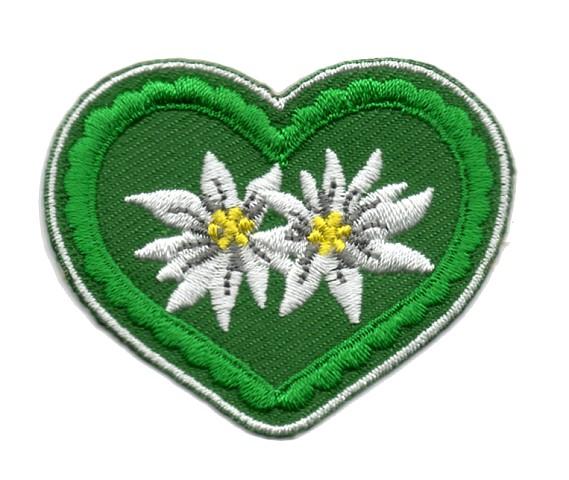 Landhaus Applikation Wiesn Herz Edelweiss 5x4,5cm Farbe: Grün-Dunkelgrün