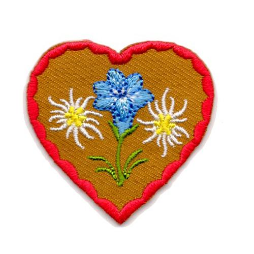Applikation Landhaus Herz Enzian Edelweiss 4,3 x 4,3cm Farbe: Rot-Braun