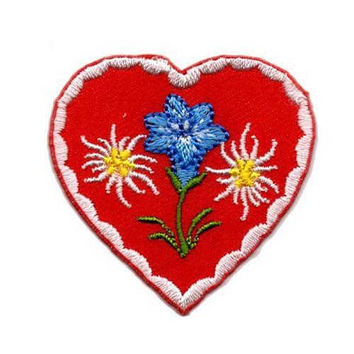 Applikation Landhaus Herz Enzian Edelweiss 4,3 x 4,3cm Farbe: Weiss-Rot