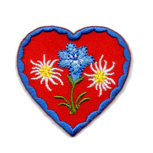 Applikation Landhaus Herz Enzian Edelweiss 4,3 x 4,3cm Farbe: Blau-Rot