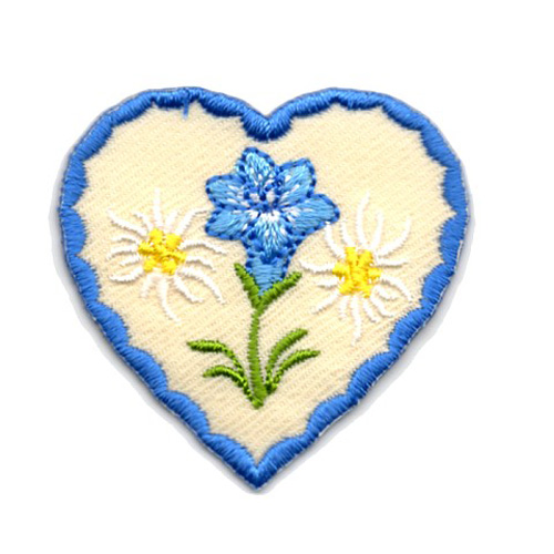Applikation Landhaus Herz Enzian Edelweiss 4,3 x 4,3cm Farbe: Blau-Beige