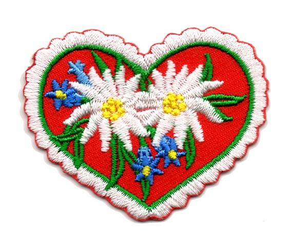 Applikation Landhaus Herz Enzian Edelweiss 5,2 x 4cm Farbe: Weiss-Rot