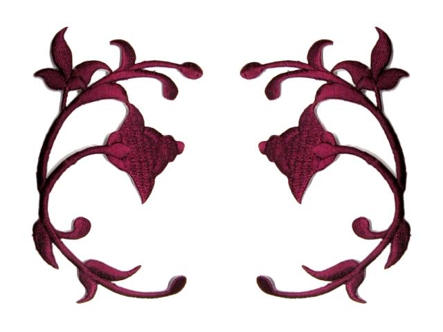 Applikation Landhaus Patch Tribal Arabeske 14 x 10cm Farbe: Bordeaux