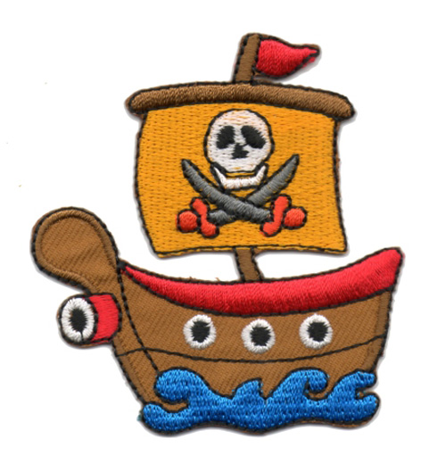 Applikation Patch Bügelbild Piratenschiff 6,5 x 7cm Farbe: Rot