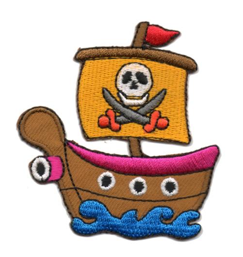 Applikation Patch Bügelbild Piratenschiff 6,5 x 7cm Farbe: Fuchsia