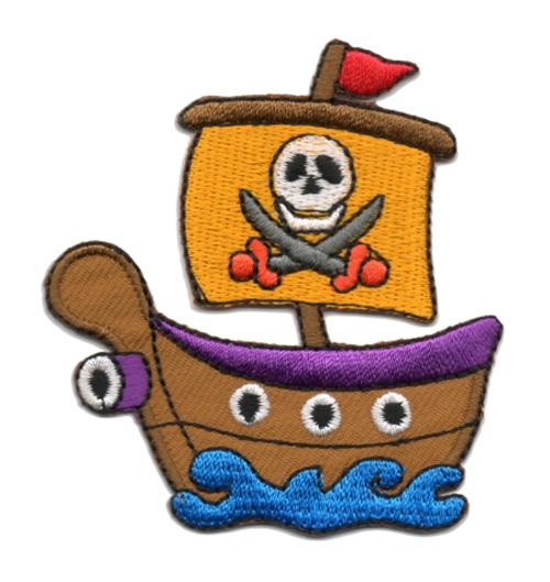 Applikation Patch Bügelbild Piratenschiff 6,5 x 7cm Farbe: Lila