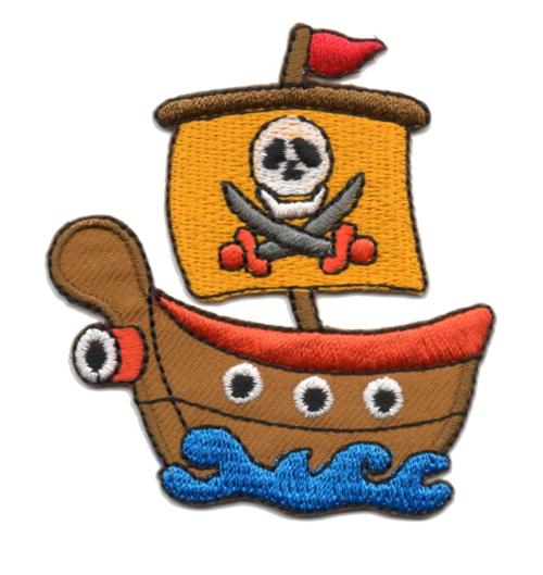 Applikation Patch Bügelbild Piratenschiff 6,5 x 7cm Farbe: Terracotta