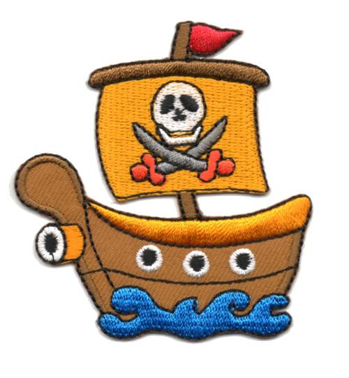 Applikation Patch Bügelbild Piratenschiff 6,5 x 7cm Farbe: Orange
