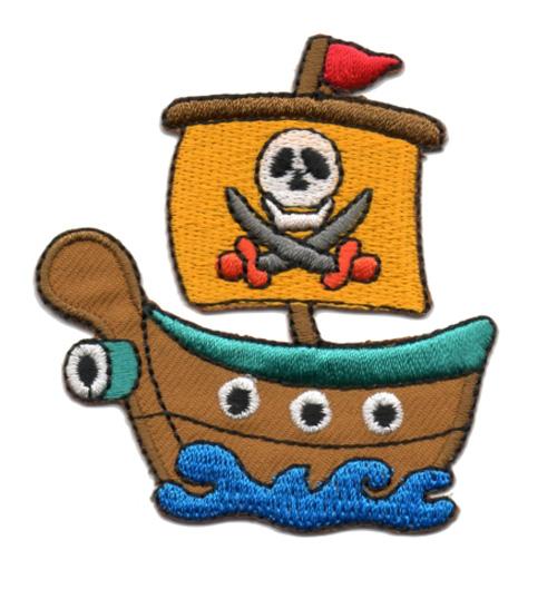 Applikation Patch Bügelbild Piratenschiff 6,5 x 7cm Farbe: Türkis