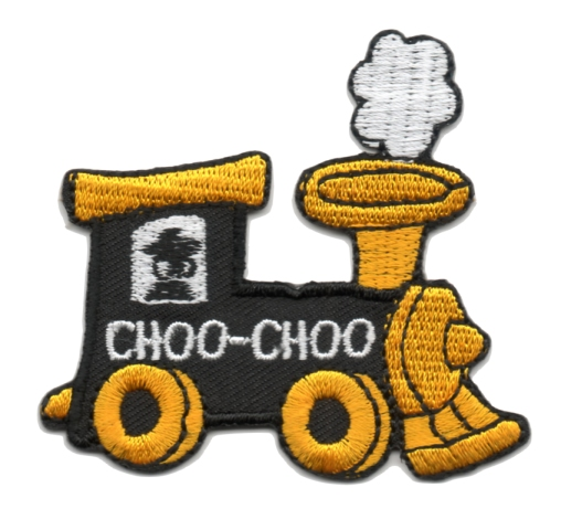 Applikation Patch Bügelbild Lokomotive 6,2 x 5,6cm Farbe: Orange