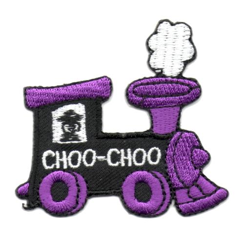 Applikation Patch Bügelbild Lokomotive 6,2 x 5,6cm Farbe: Lila