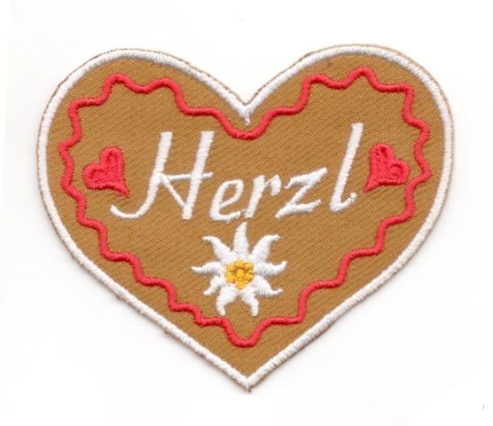 Landhaus Trachten Applikation Wiesn Herz Herzl 7 x 6cm Farbe: weiss-rot-braun
