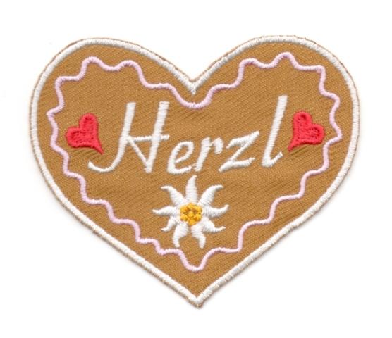 Landhaus Trachten Applikation Wiesn Herz Herzl 8,5 x 7cm Farbe: weiss-rose-braun