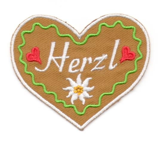 Landhaus Trachten Applikation Wiesn Herz Herzl 8,5 x 7cm Farbe: weiss-grün-braun