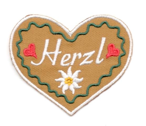 Landhaus Trachten Applikation Wiesn Herz Herzl 7 x 6cm Farbe: weiss-d.grün-braun