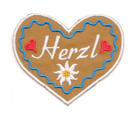 Landhaus Trachten Applikation Wiesn Herz Herzl 8,5 x 7cm Farbe: weiss-d.blau-braun