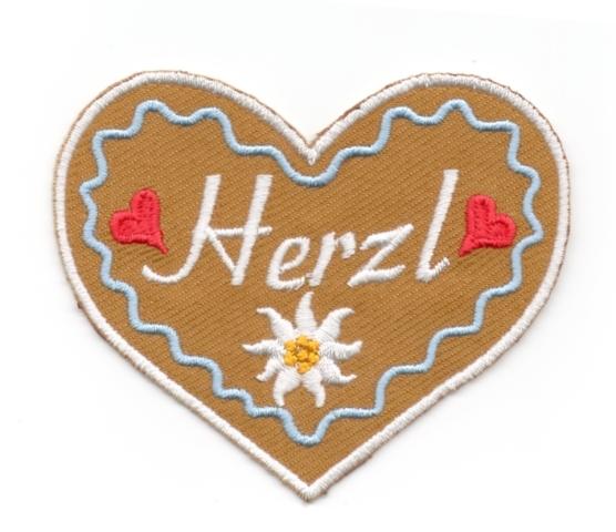 Landhaus Trachten Applikation Wiesn Herz Herzl 8,5 x 7cm Farbe: weiss-h.blau-braun