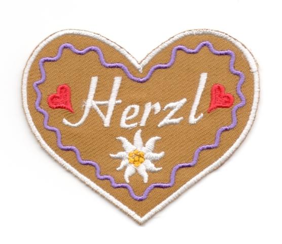 Landhaus Trachten Applikation Wiesn Herz Herzl 8,5 x 7cm Farbe: weiss-h.lila-braun