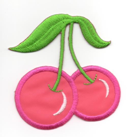Applikation Patch Sticker Kirschen Farbe: Pink 6 x 6,7cm