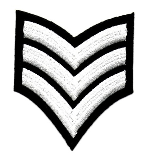 Applikation Patch Schulterstück Army 6,8x8cm Farbe: Weiss