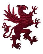 1 Applikation Wappen Adler 11 x 13cm Farbe: Bordeaux