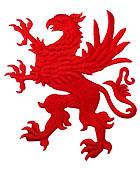1 Applikation Wappen Adler 11 x 13cm Farbe: Rot