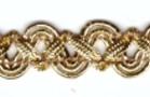16,40m Gold-Borte im leonischen Stil 12mm breit Farbe: helles Lurex-Gold