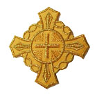 Applikation Patch Tribal Kreuz 6 x 6cm Farbe: Lurex-Gold
