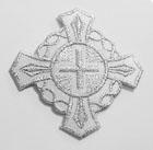 Applikation Patch Tribal Kreuz 6 x 6cm Farbe: Lurex-Silber