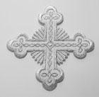 Applikation Patch Tribal Kreuz 9 x 9cm Farbe: Lurex-Silber