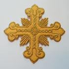 Applikation Patch Tribal Kreuz 9 x 9cm Farbe: Lurex-Gold