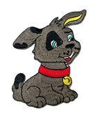 Applikation Patch Hund 6,5 x 7,5cm Farbe: Dunkelgrau