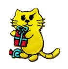 Applikation Patch Tiere Sticker Katze 3,8 x 4,1cm Farbe: Gelb