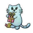 Applikation Patch Tiere Sticker Katze 3,8 x 4,1cm Farbe: Hellblau