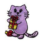 Applikation Patch Tiere Sticker Katze 3,8 x 4,1cm Farbe: Violett