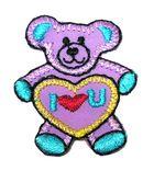 Applikation Patch Sticker Teddi Bär 3 x 3,7cm Farbe: Violett