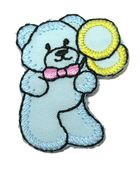 Applikation Patch Sticker Teddi Bär 2,7 x 3,6cm Farbe: Hellblau