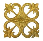 Applikation Patch Tribal historisch  5,6 x 5,6cm Farbe: Lurex-Gold